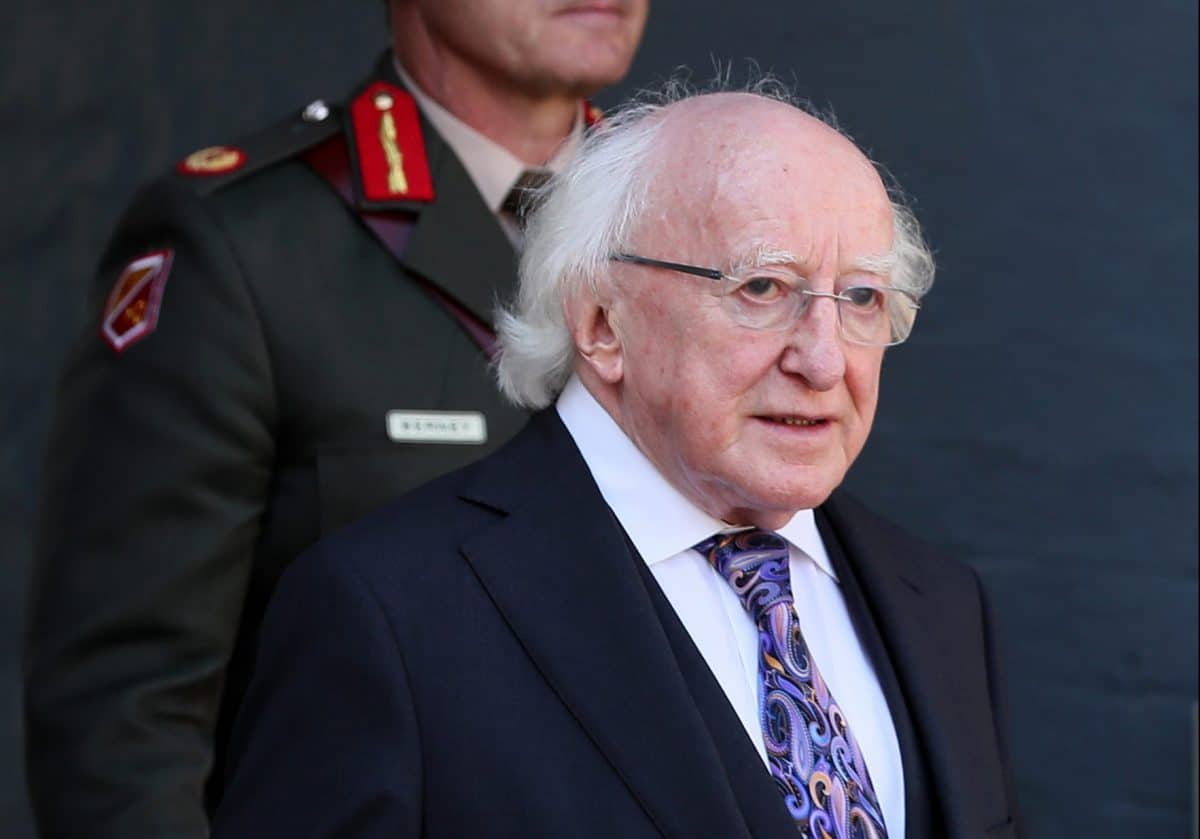 President Michael D Higgins arrives for the National Day of Commemoration Ceremony, held to honour all Irishmen and Irishwomen who died in past wars or on service with the United Nations, at Collins Barracks in Dublin.