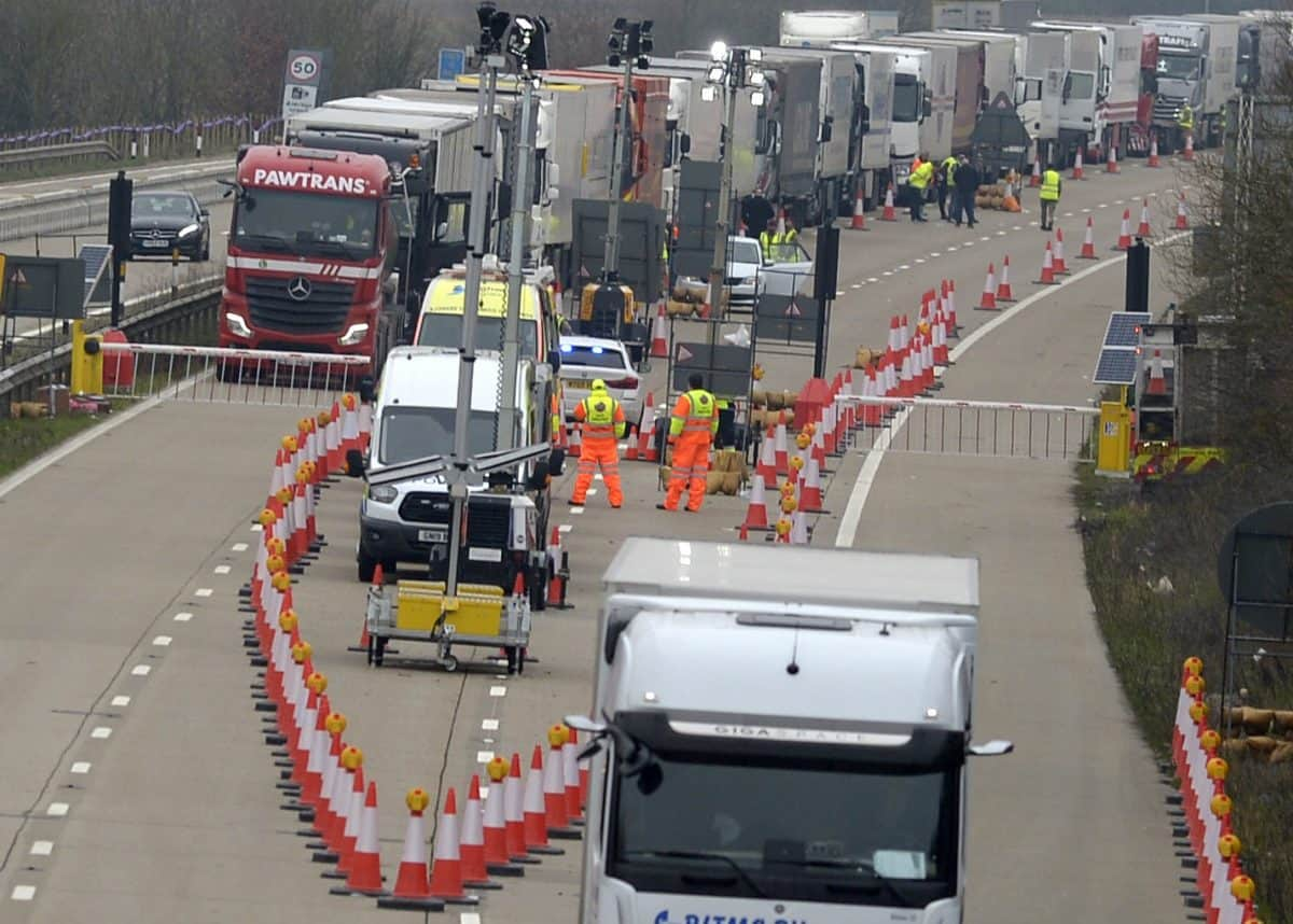 Operation Brock still in place on the M20 at junction 9. Credit SWNS
