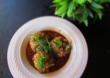 Rice Meatballs served in a Velvety Red Wine Sauce