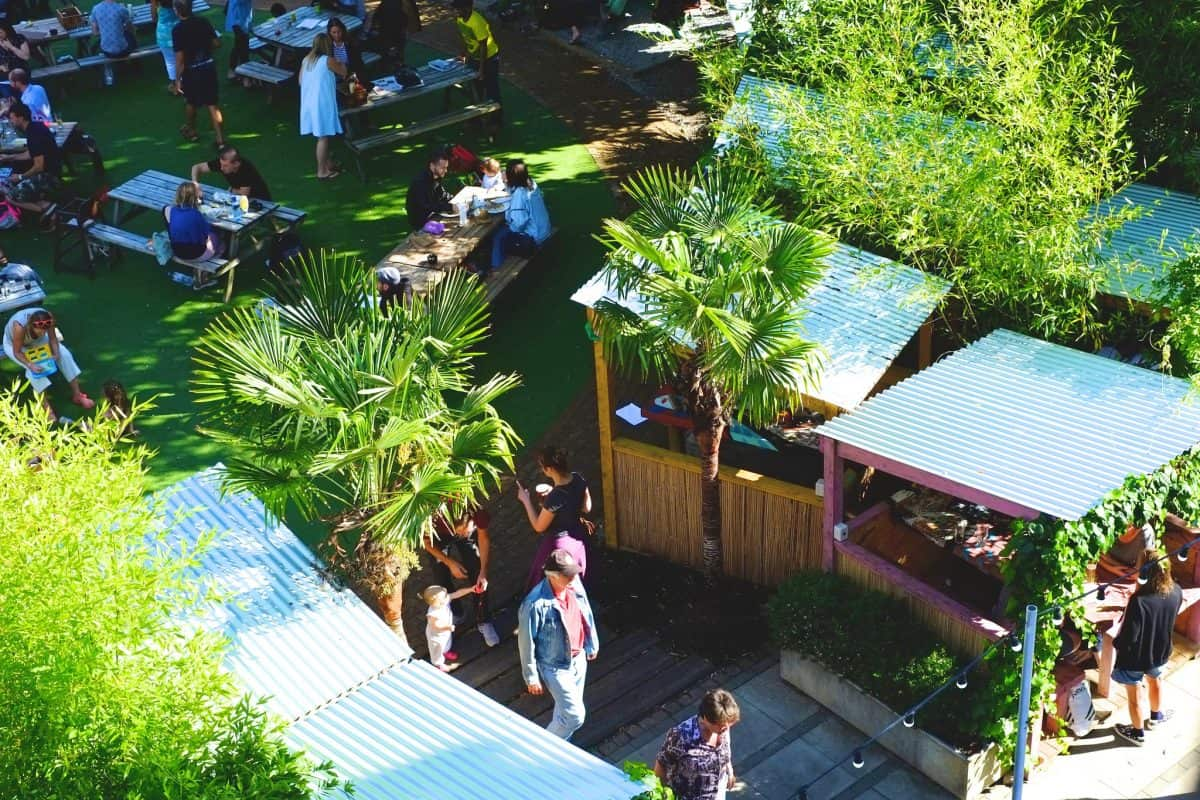 People's Park Tavern pub in Victoria park, Hackney. beer gardens outdoor