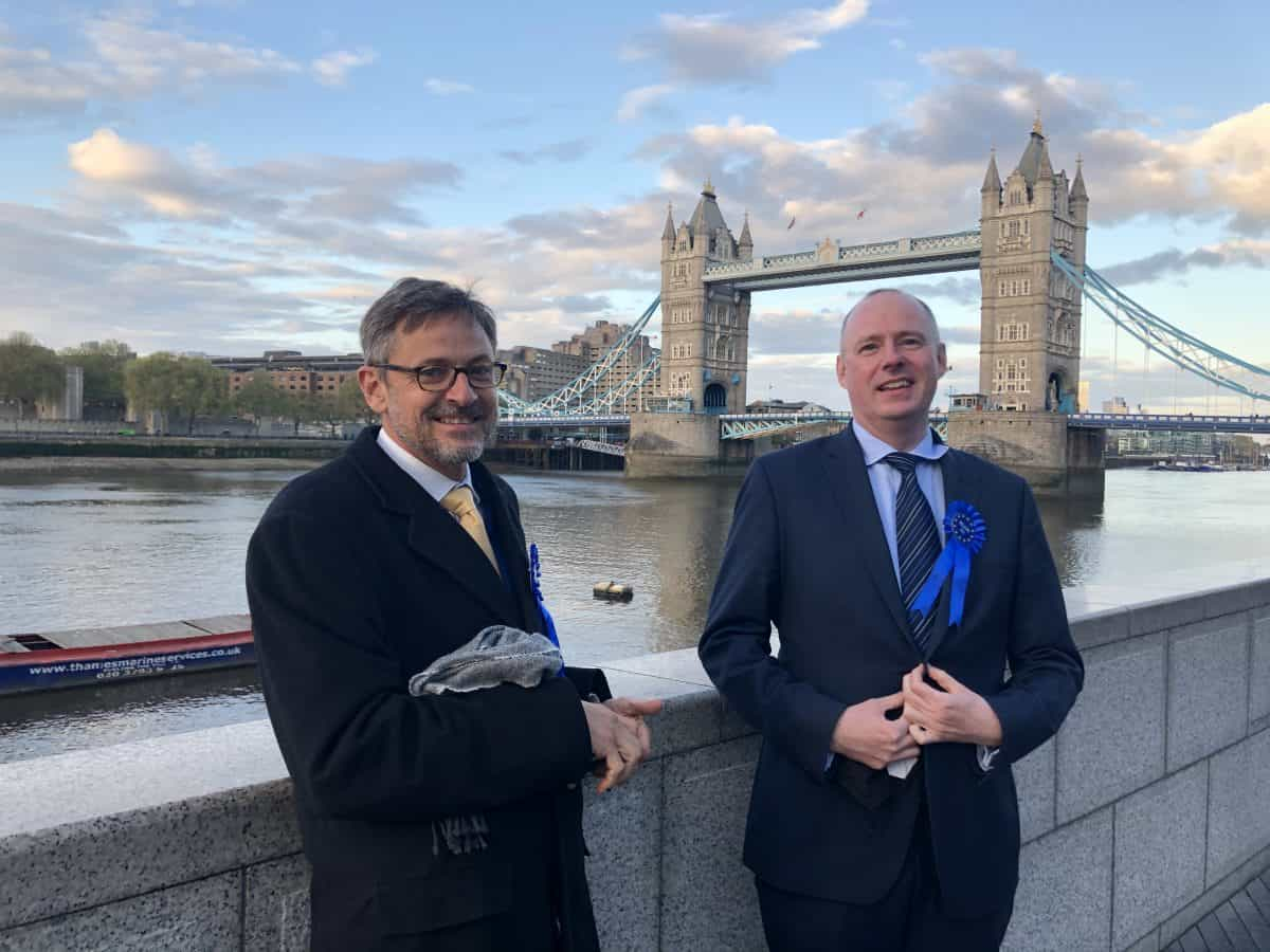 Left to right: Rejoin EU's Chair Andrew Smith and London Mayor candidate Richard Hewison
