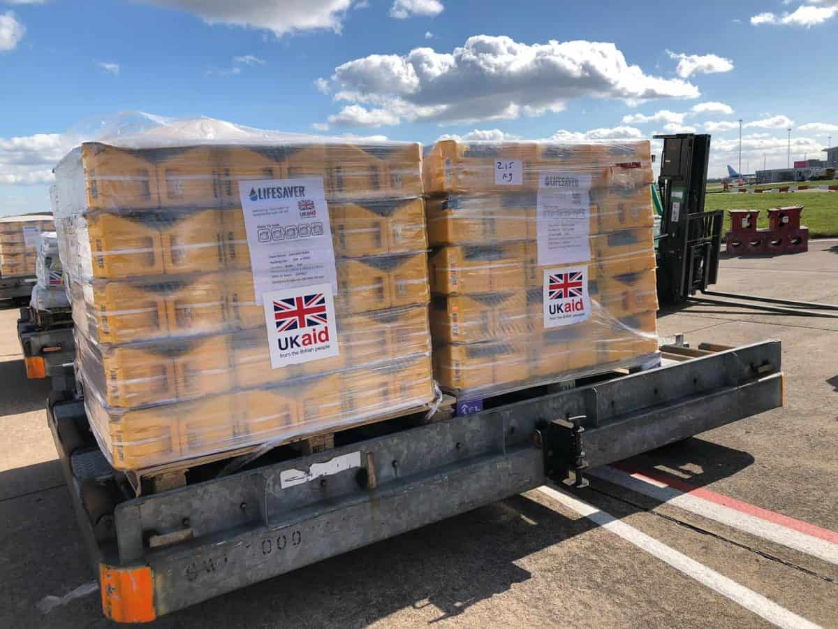 Department for International Development handout photo of UK aid waiting to be loaded onto a plane at Doncaster-Sheffield airport for Maputo in Mozambique to help those caught up in the devastation caused by Cyclone Idai in south-east Africa. Credit;PA