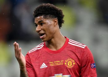 Manchester United's Marcus Rashford during the UEFA Europa League final, at Gdansk Stadium, Poland. Picture date: Wednesday May 26, 2021.