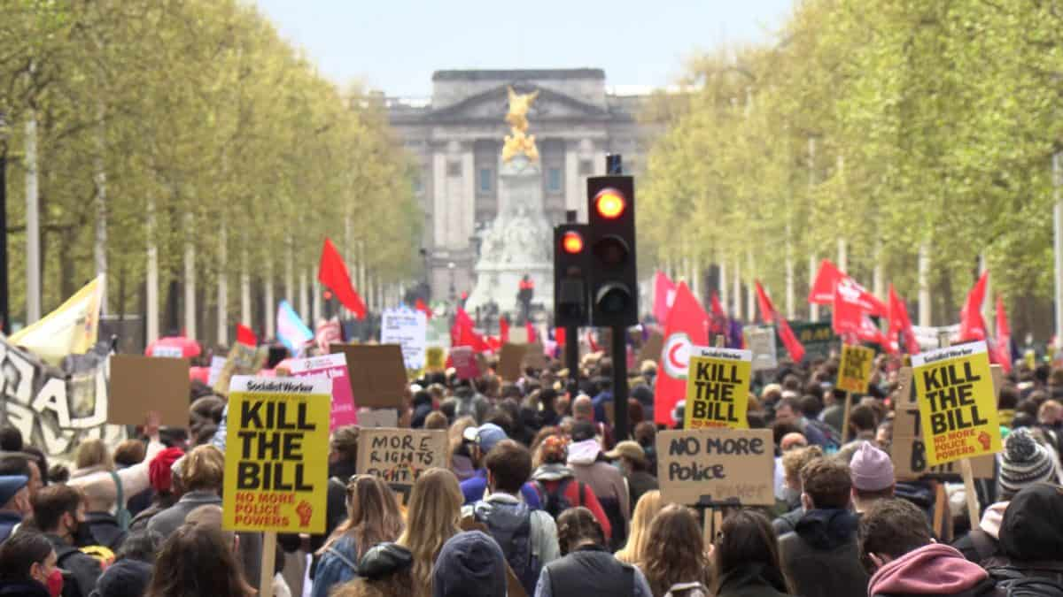 Demonstrators walk down the Mall during a 'Kill The Bill' protest against The Police, Crime, Sentencing and Courts Bill in London. Picture date: Saturday May 1, 2021. Credit;PA