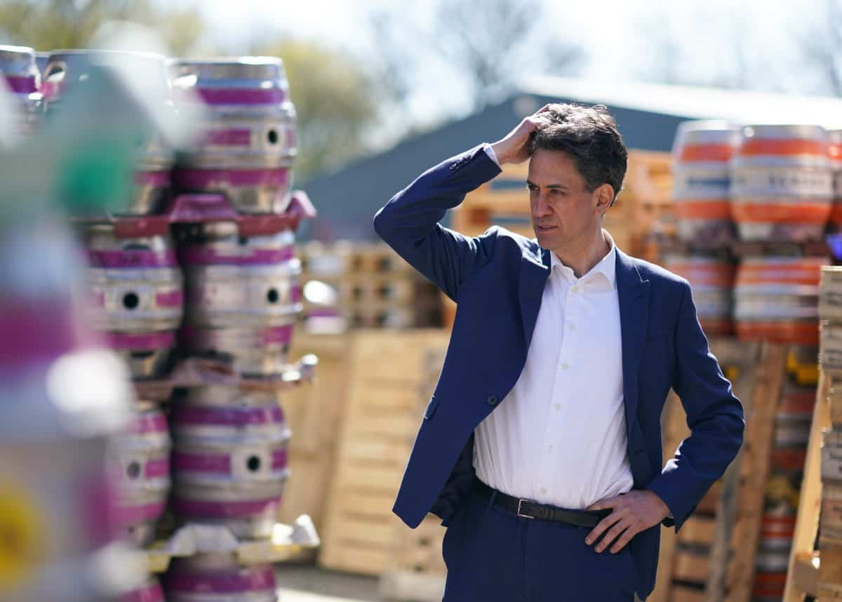 Ed Miliband, Shadow Secretary of State for Business, Energy and Industrial Strategy visits the Ilkley brewery, in Ilkley West Yorkshire, to show support for Tracy Brabin as she campaigns to become the Labour candidate in the West Yorkshire mayoral election. Picture date: Thursday April 22, 2021.