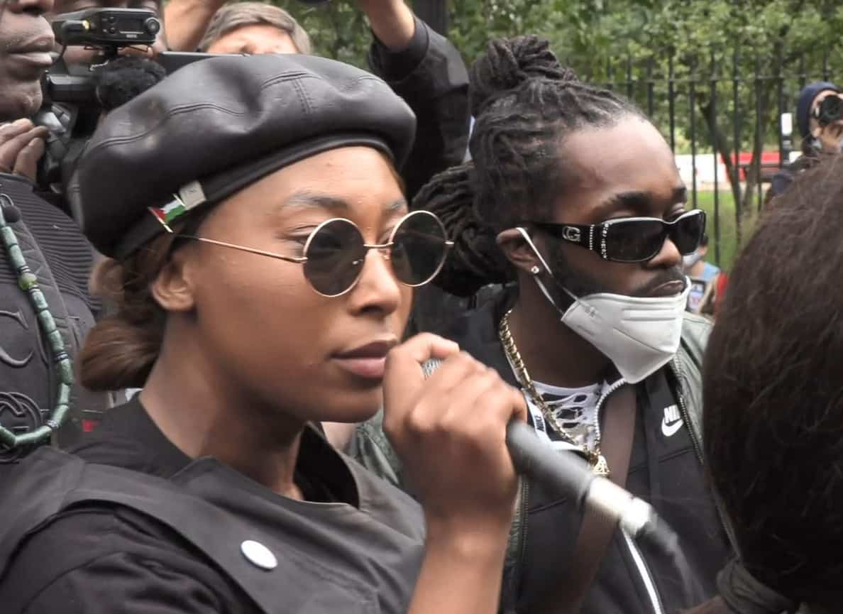 File video grab dated 30/08/2020 of activist Sasha Johnson speaking during the Million People March in London. The mother-of-three is in a critical condition in hospital after she was shot in the head during the early hours of Sunday. Issue date: Sunday May 23, 2021.