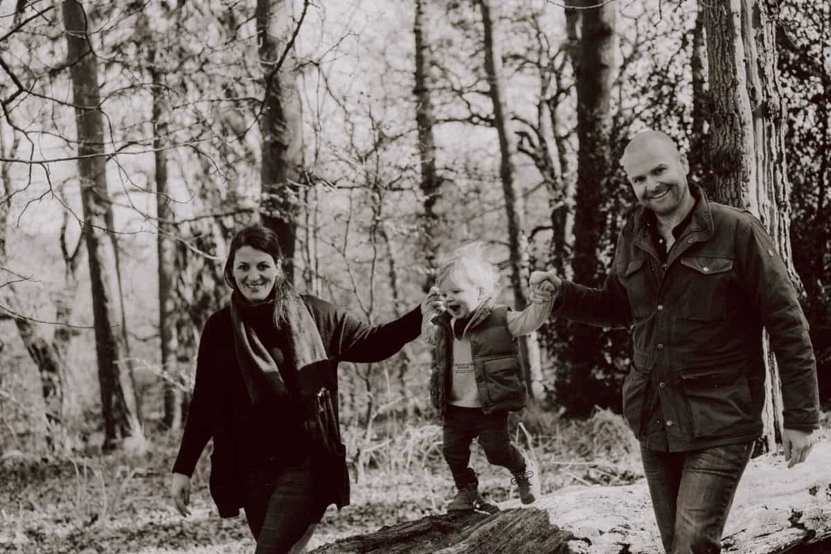 Alena with her partner Nick and child Finn. Photo: Waves of Wonder Photography.