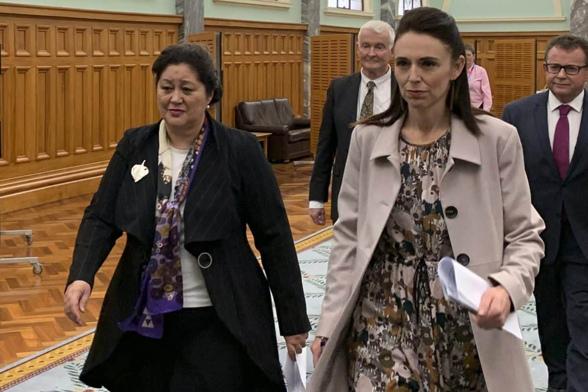Cindy Kiro, left, and Prime Minister Jacinda Ardern, right, walk together through Parliament Building Monday, May 24, 2021, in Wellington, New Zealand. Kiro was named as New Zealand's next governor-general, the first Indigenous Maori woman appointed to the role.(AP Photo/Nick Perry)