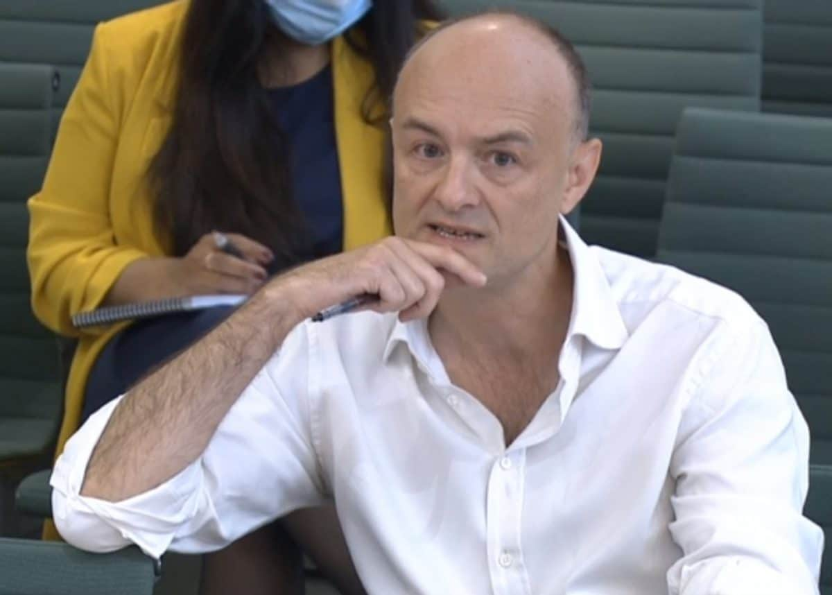 Dominic Cummings, former Chief Adviser to Prime Minister Boris Johnson, giving evidence to a joint inquiry of the Commons Health and Social Care and Science and Technology Committees on the subject of Coronavirus: lessons learnt. Picture date: Wednesday May 26, 2021.