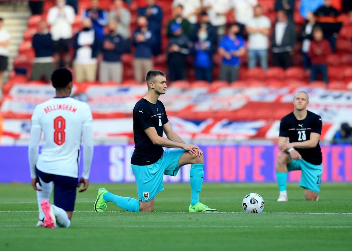 Austria's Sasa Kalajdzic takes the knee ahead of the International Friendly at The Riverside Stadium, Middlesbrough. Picture date: Wednesday June 2, 2021.