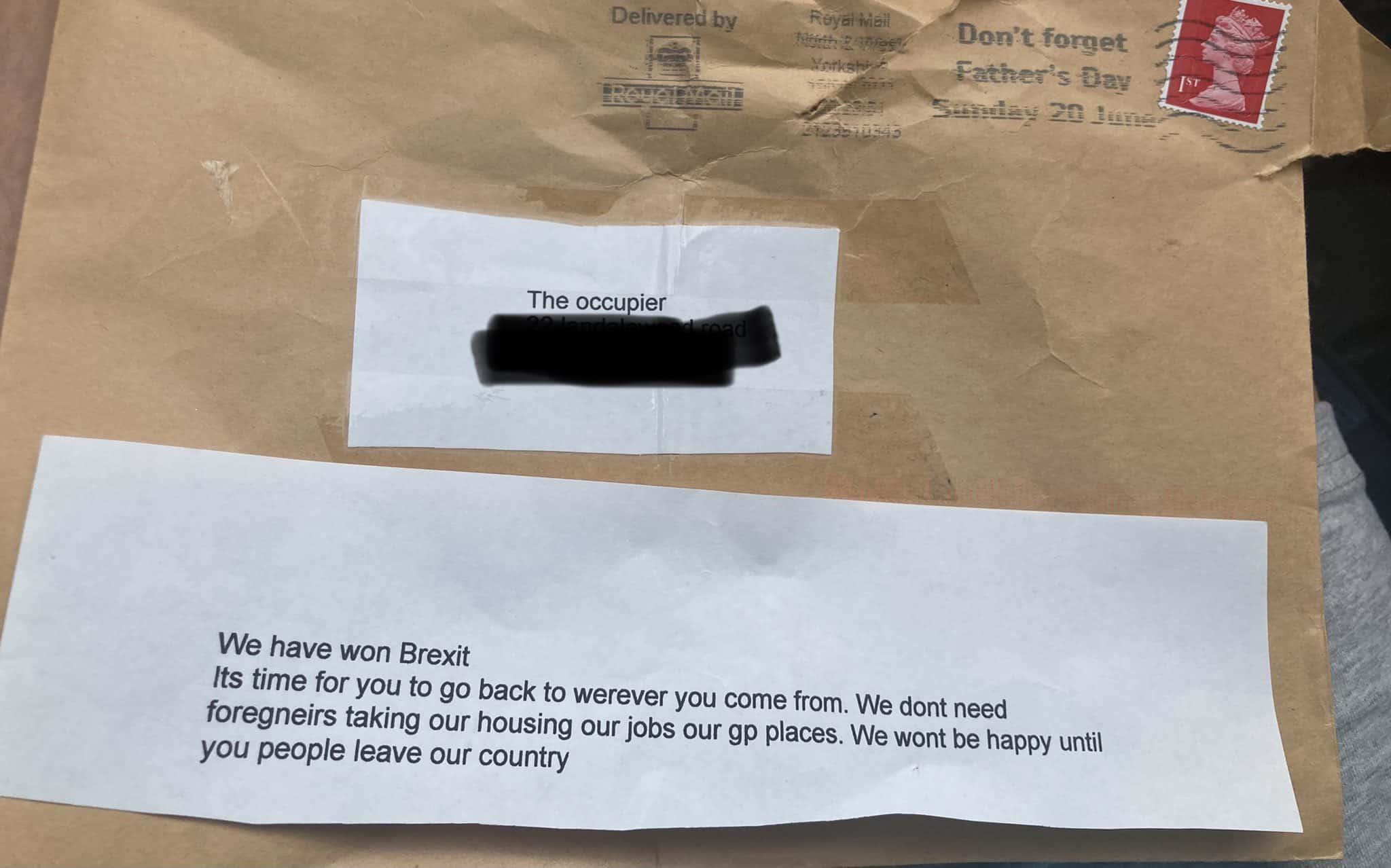 The letter Nicoletta Peddis received