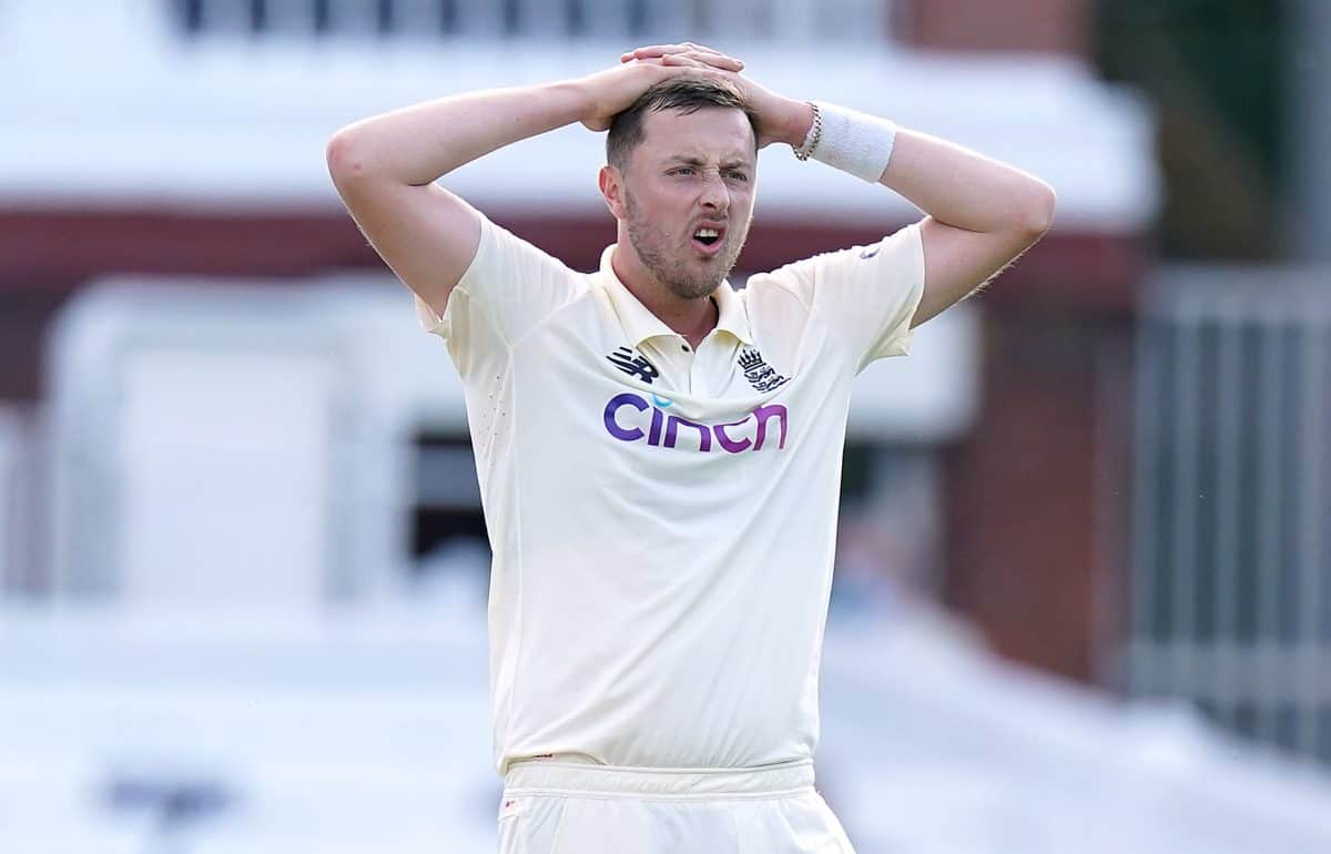 England's Ollie Robinson reacts during day four of the first LV= Insurance Test match at Lord's, London. Picture date: Saturday June 5, 2021.