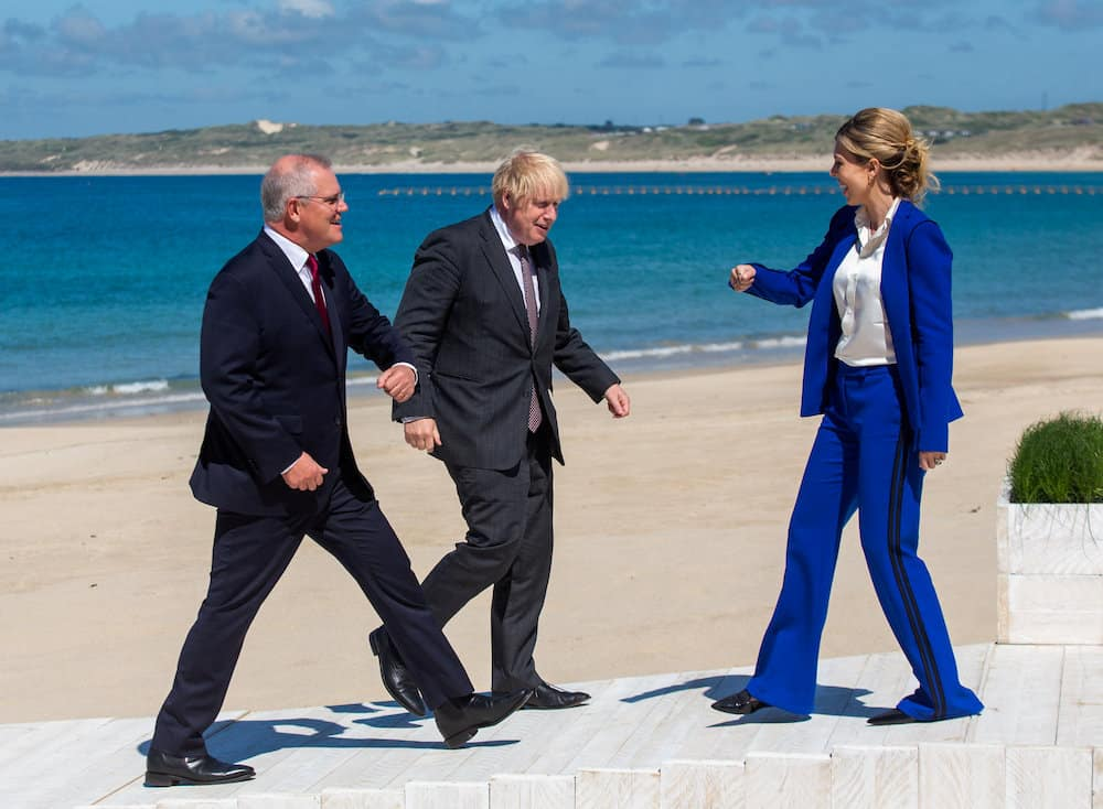 Boris Johnson and his wife Carrie welcome Prime Minister of Australia Scott Morrison to Carbis Bay, Cornwall. 12th June 2021 Credit;PA