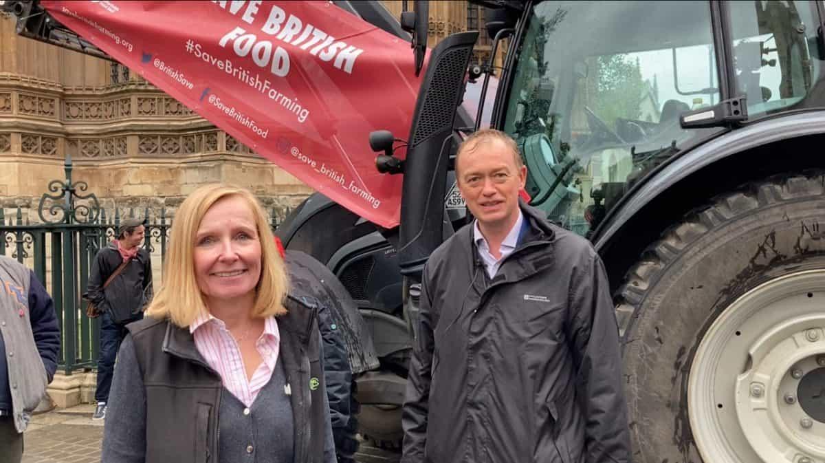 Save British Farming: Wiltshire farmer Liz Webster and Lib Dem Tim Farron, who focuses on food, environment and rural affairs