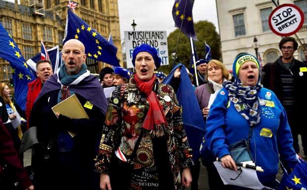 Dame Sarah Connolly at a protest raising awareness about Brexit's impact on musicians