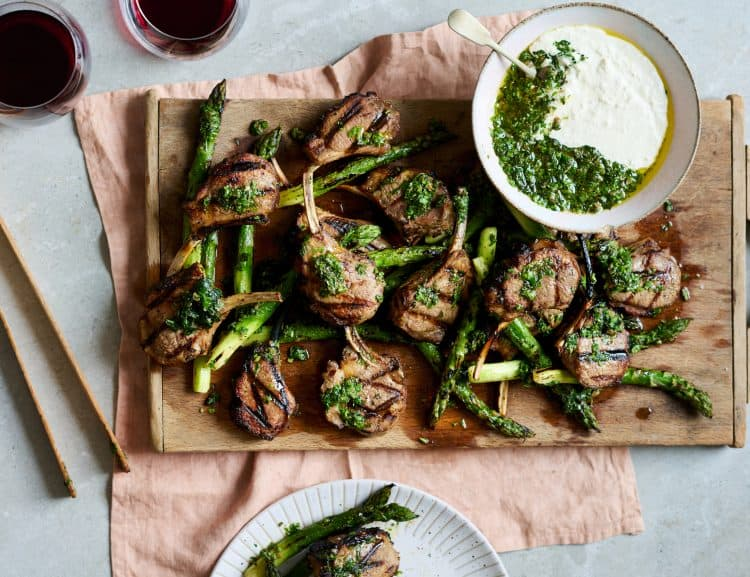 Skye Gyngell Andrew Peace Grilled Lamb Cutlets, Asparagus, Horseradish & Salsa Verde