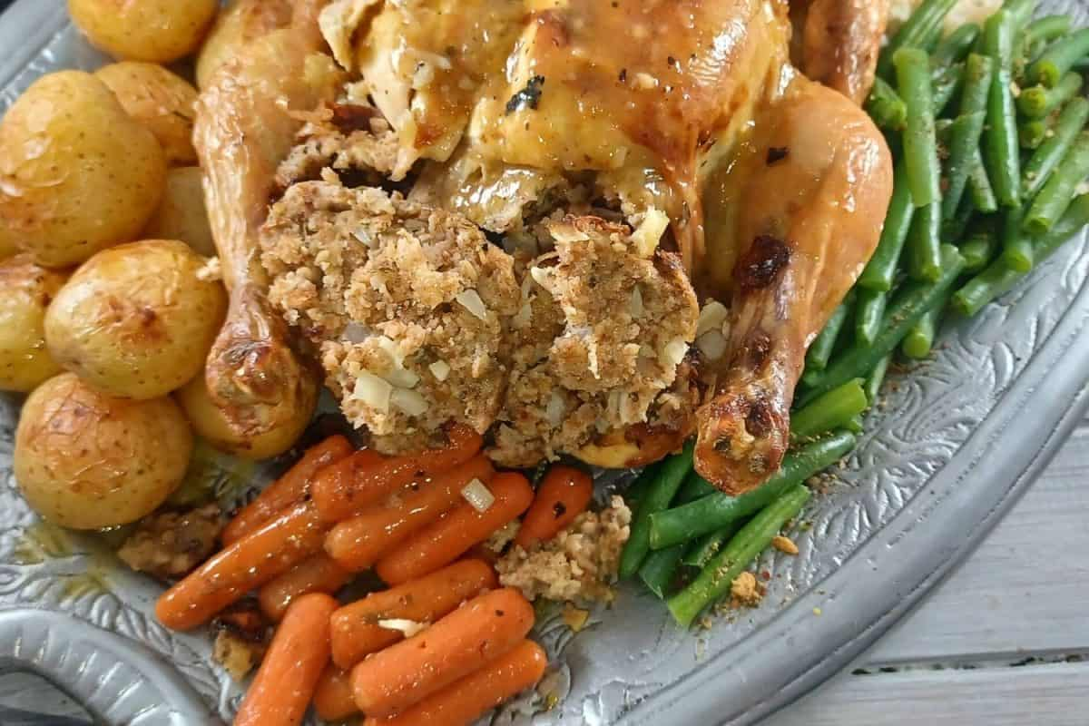 Lemon and Thyme Stuffed Roasted Chicken