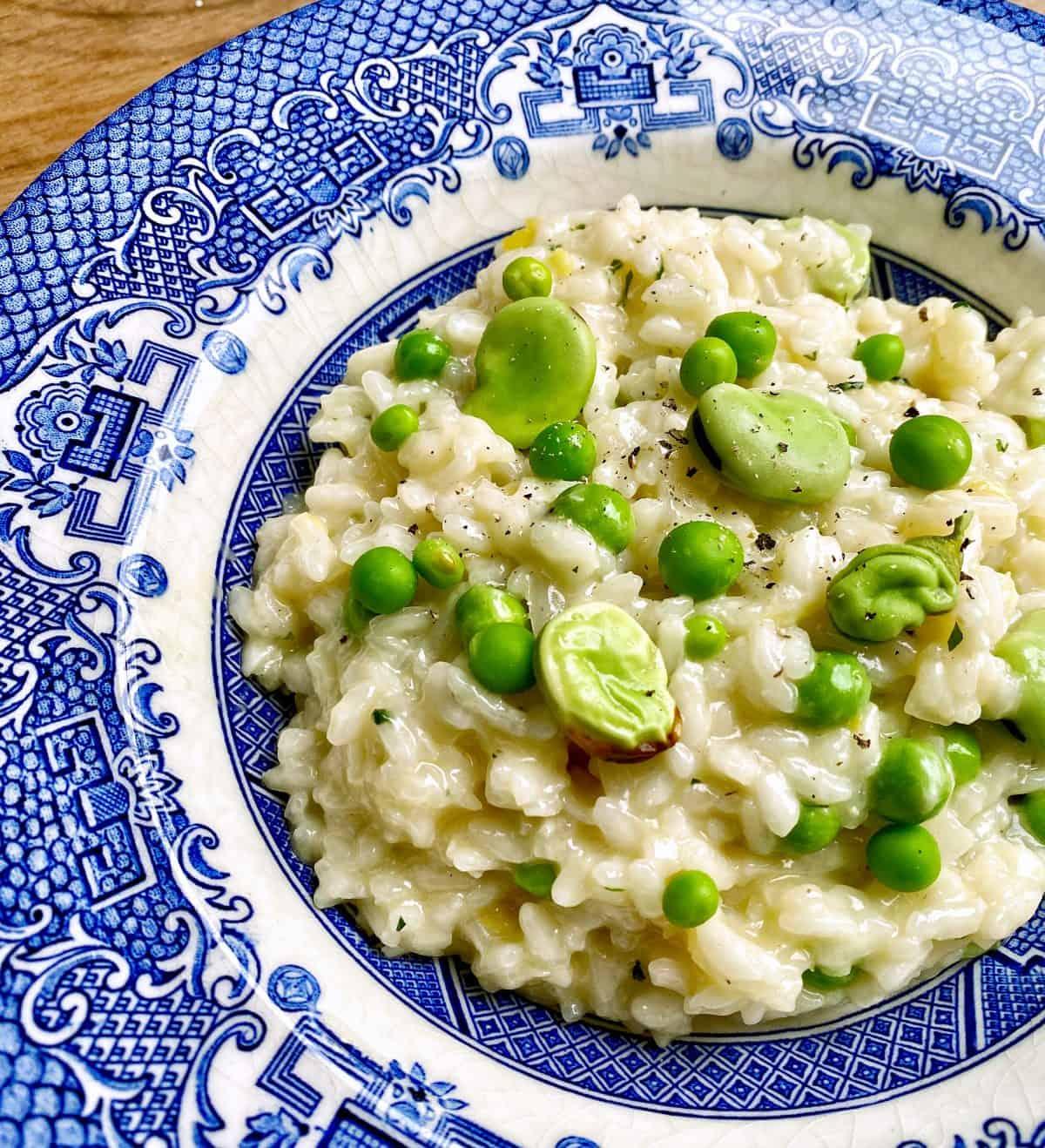 broad bean and pea risotto recipe
