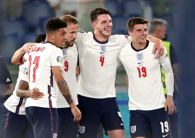 England's Harry Kane (2nd left) celebrates scoring their side's third goal of the game during the UEFA Euro 2020 Quarter Final match at the Stadio Olimpico, Rome. Picture date: Saturday July 3, 2021.