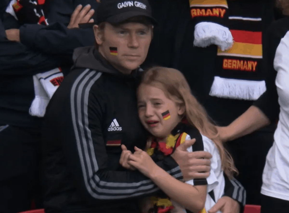 German girl crying after her team lost in a football match against England. Photo: BBC.