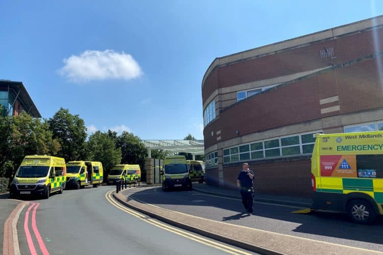 Alarming pictures show ambulances queuing outside a hospital . Credit;SWNS
