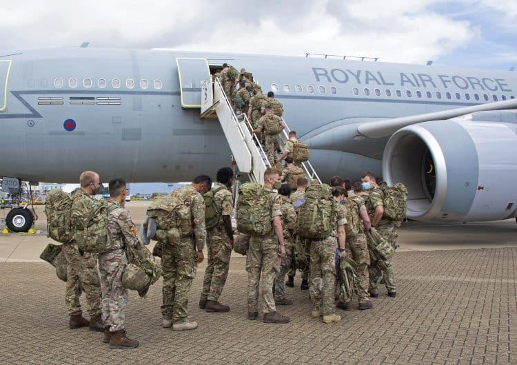 Handout photo 14/08/21 issued by the Ministry of Defence (MoD) of UK military personnel prior to boarding an RAF Voyager aircraft at RAF Brize Norton in Oxfordshire, as part of a 600-strong UK-force sent to assist with the operation to rescue British nationals in Afghanistan. Issue date: Sunday August 15, 2021.
