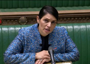 Home Secretary Priti Patel speaking in the House of Commons, London, in the aftermath of last Saturday's vigil for murdered Sarah Everard on Clapham Common. Picture date: Monday March 15, 2021.