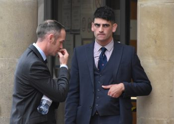 John Finnegan (left) and Rhys Matcham (right) outside Leicester Magistrates' Court. Credit;PA
