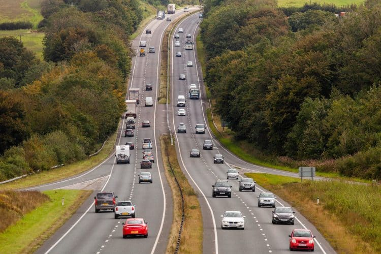 Traffic builds up on the A30 outside of Bodmin in Cornwall.Credit;SWNS