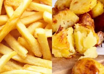 Chips and roast potatoes