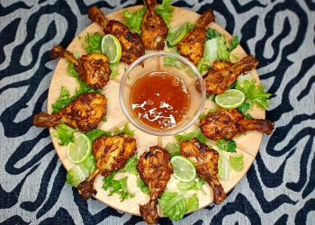 Tandori Chicken Drumsticks with Peach Chutney
