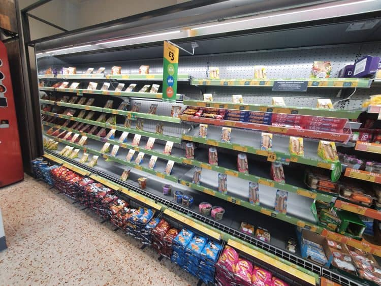 Creative stacking disguises nearly empty shelves at Morrisons in Kirkstall, Leeds, September 10 2021.  Credit;PA