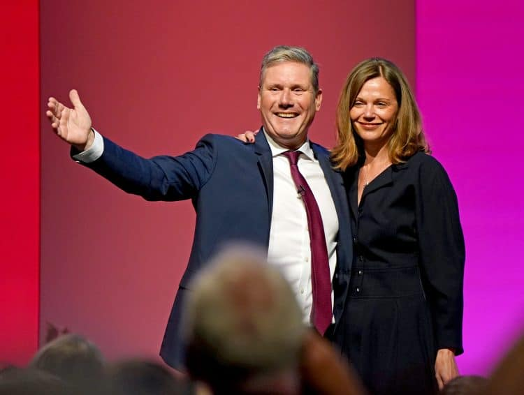 Labour party leader Sir Keir Starmer with his wife Victoria at the end of his speech at the Labour Party conference in Brighton. Picture date: Wednesday September 29, 2021.
