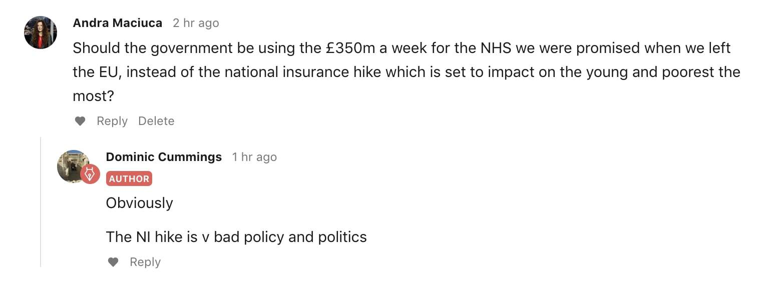 Dominic Cummings tells TLE reporter Andra Maciuca that NHS funding should come from the weekly flow of Brexit money, not tax hikes.