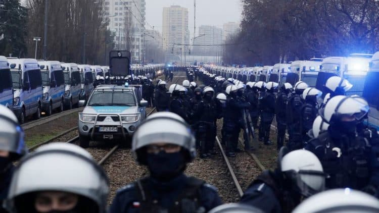 Protesters march in Warsaw against 'authoritarian' government.