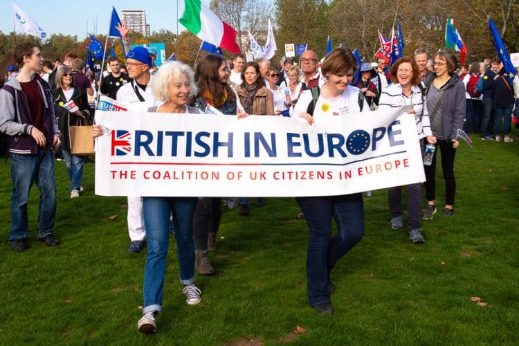 Co-chairs Jane Golding and Fiona Godfrey holding up the British in Europe banner at a pro-Europe march