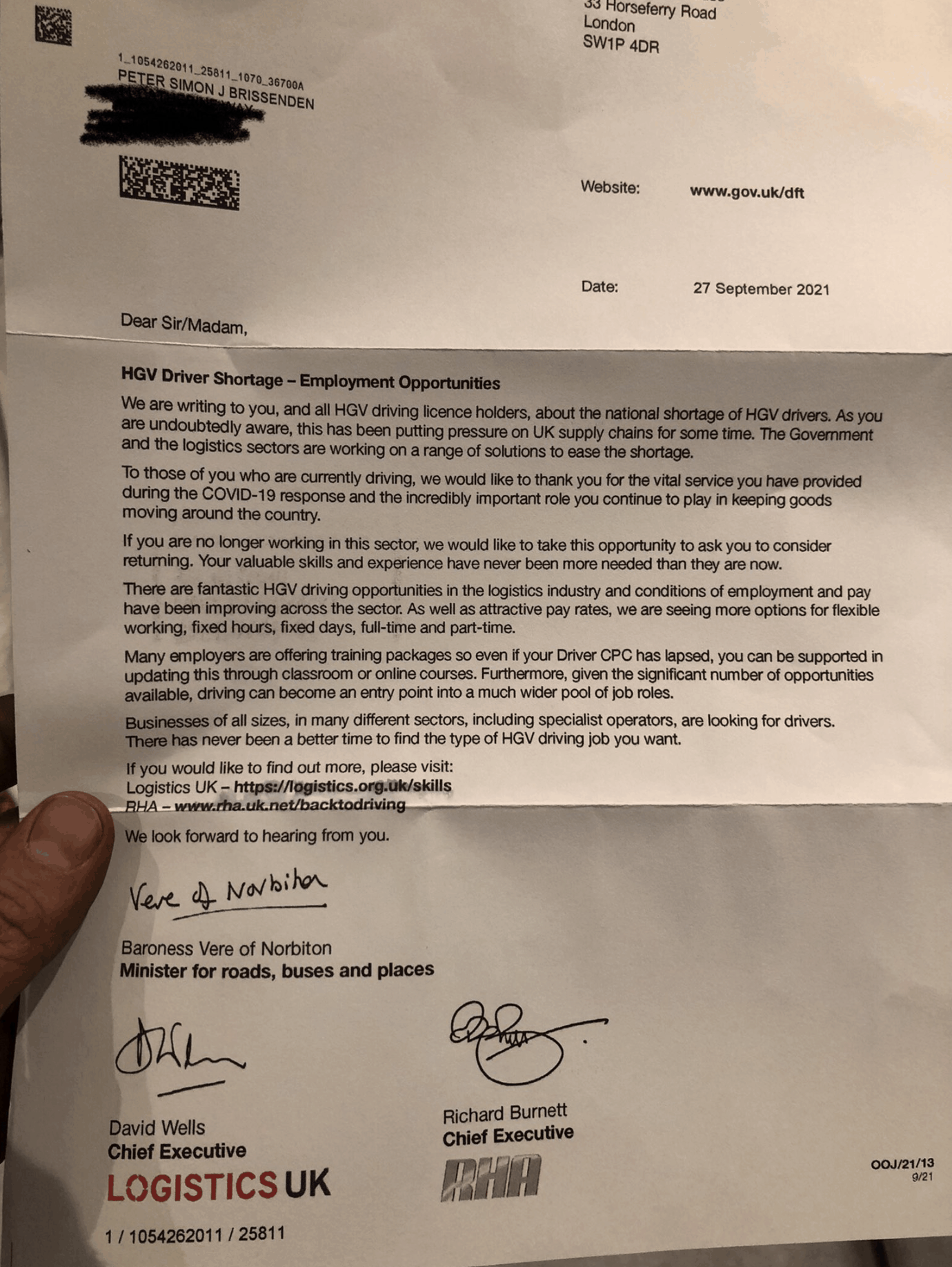 The letter sent by the UK government