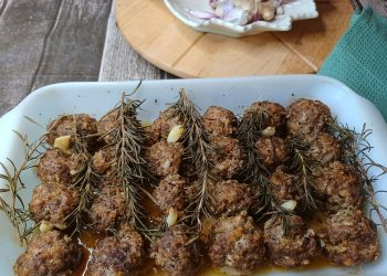 Roasted Garlic, Rosemary Baked Meatballs