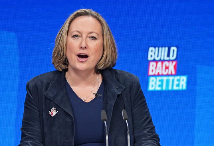 International Trade Secretary Anne-Marie Trevelyan during her speech at the Conservative Party Conference in Manchester. Picture date: Sunday October 3, 2021.