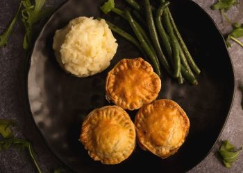 Hearty Beef Pot Pies with Green Beans and Mashed Potato