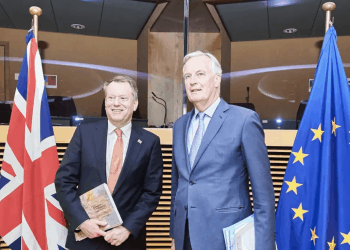 Brexit minister David Frost (left) admitted Northern Ireland is prosperous under EU's single market