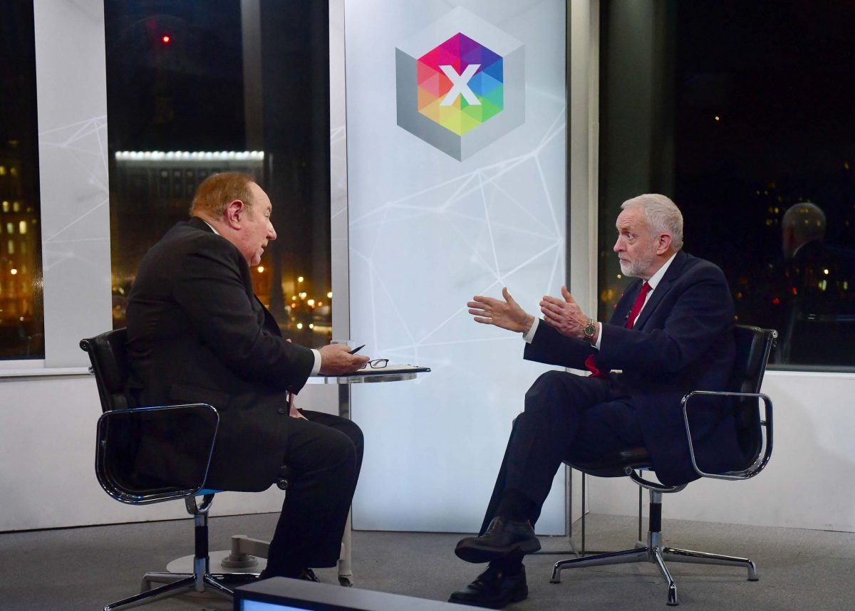 For use in UK, Ireland or Benelux countries only. BBC handout photo of host Andrew Neil (left) with Labour Party leader Jeremy Corbyn during a BBC interview.