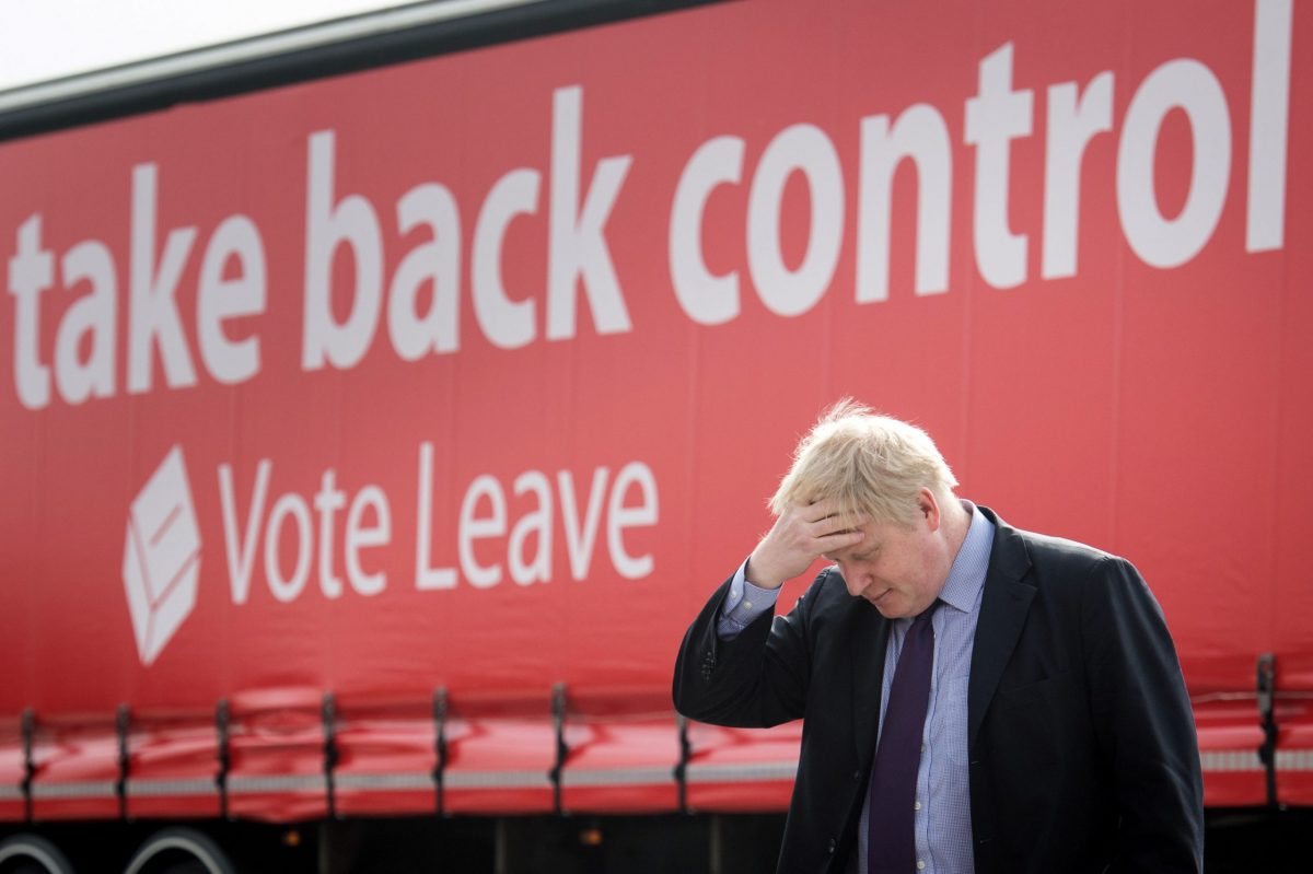 Mayor of London Boris Johnson during a Vote Leave campaign event at the Europa Worldwide freight company in Dartford, Kent.
