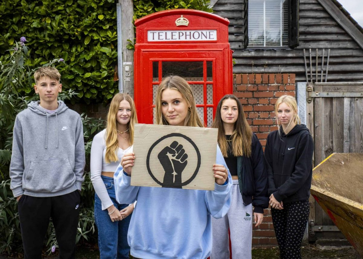 (From left to right) Benjamin Kinnaird, Florence Hillier, Emily Kinnaird, Ella Hugi and Holly Rawes. Wiltshire. 16 October 2020. Credit;SWNS